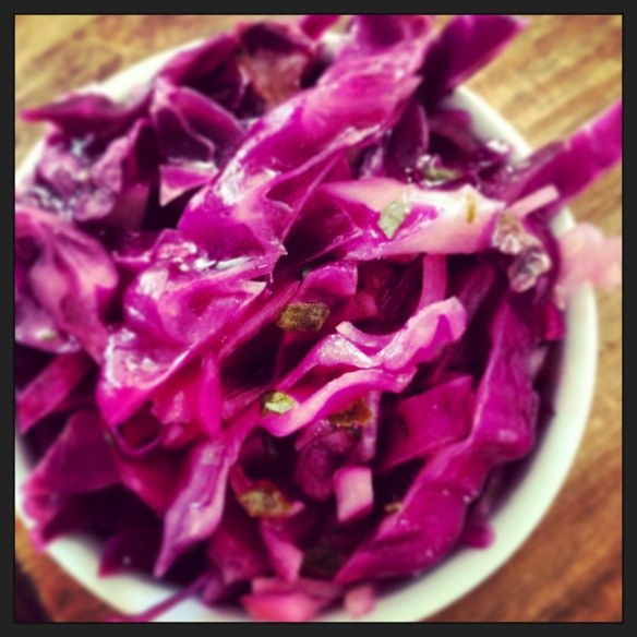Red cabbage slaw.