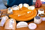 Goat cheeses I tried at the market.